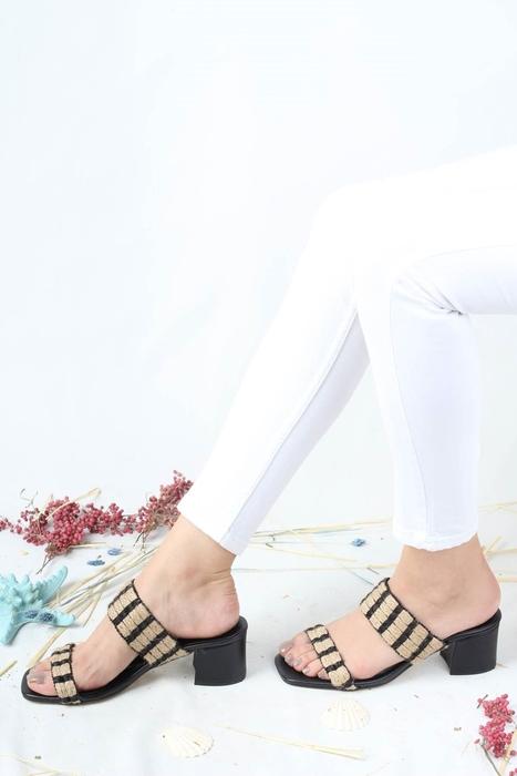 Modabuymus - Kalın Topuklu Siyah Hasır Terlik - Hame