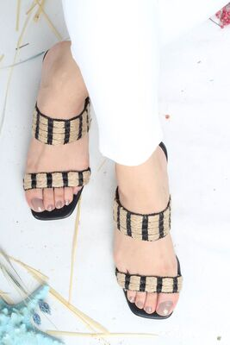Modabuymus - Kalın Topuklu Siyah Hasır Terlik - Hame (1)